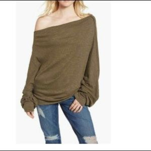 Free People  Skyline Thermal Knit Blouse Top